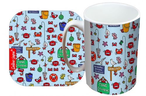 Selina-Jayne Gone Crabbing Limited Edition Designer Mug and Coaster Set